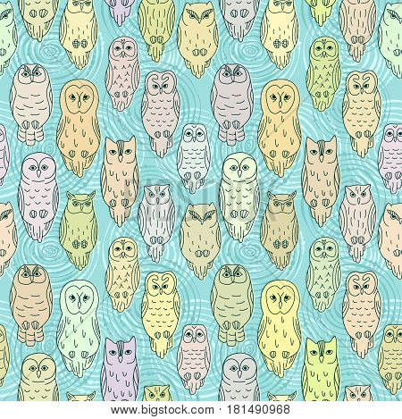 Vector seamless pattern with various owls. Ten types of owls.