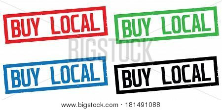 Buy Local Text, On Rectangle Border Stamp Sign.