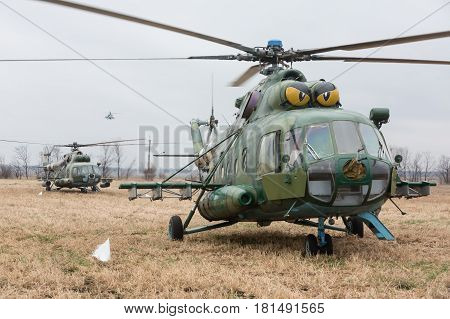 Military Helicopters On Combat Duty