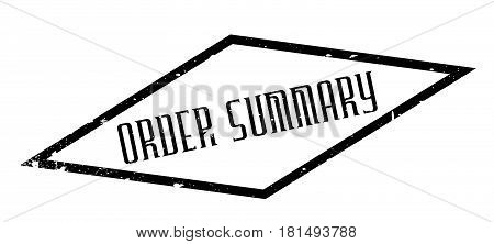 Order Summary rubber stamp. Grunge design with dust scratches. Effects can be easily removed for a clean, crisp look. Color is easily changed.