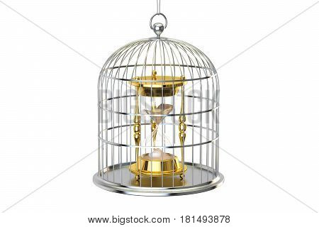 Birdcage with hourglass inside 3D rendering isolated on white background