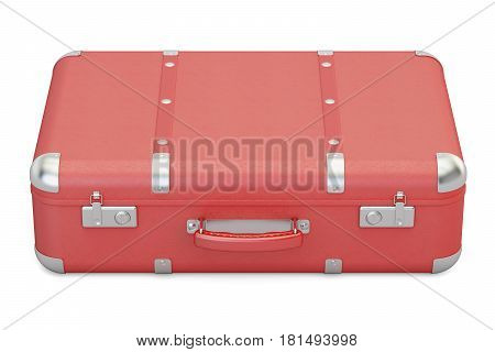 Red leather suitcase 3D rendering isolated on white background
