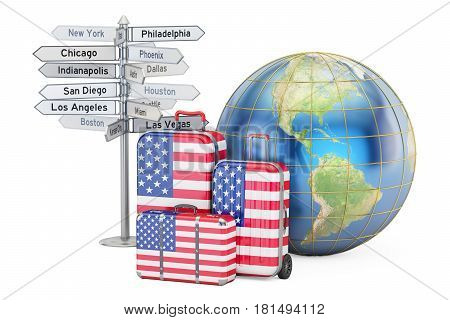 USA travel concept. Suitcases with US flag signpost and Earth globe. 3D rendering
