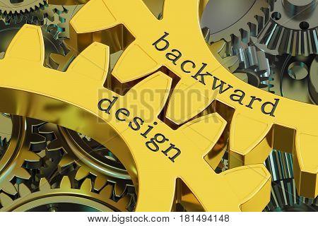 backward design concept on the gearwheels 3D rendering
