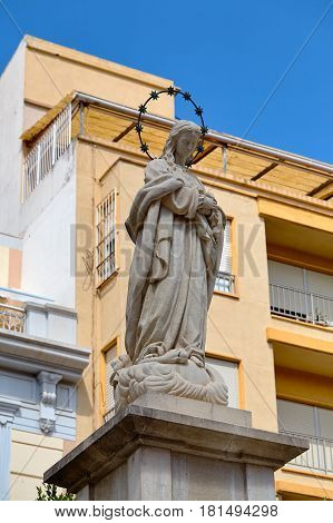 Cartagena, Spain - July 13, 2016: Sculpture to the Immaculate in Place of Risueno