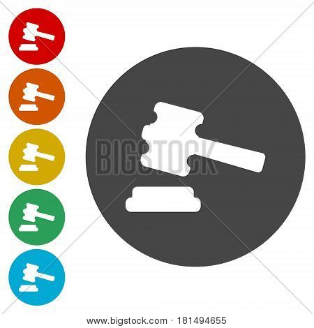 Judge or auction hammer icon, simple vector icon