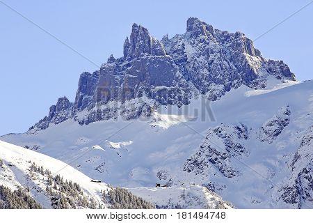 View of Furenalp in winter with Spannort Peaks in background Engelberg Canton Obwalden Switzerland