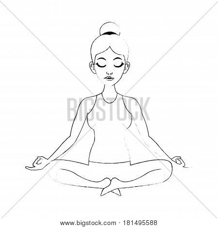 pretty woman doing yoga yogi icon image vector illustration design