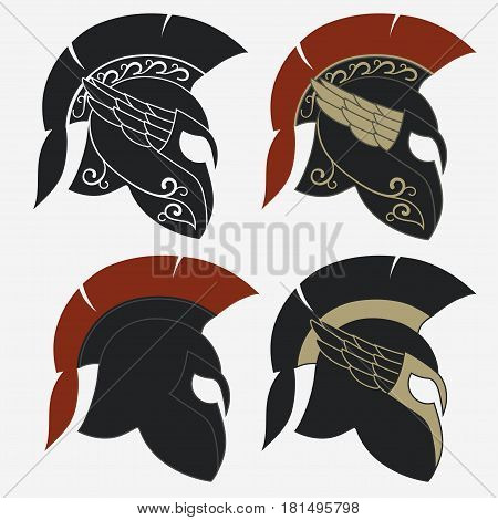 Spartan Helmet logo set, Greek warrior, Gladiator emblem, legionnaire heroic soldier. vector