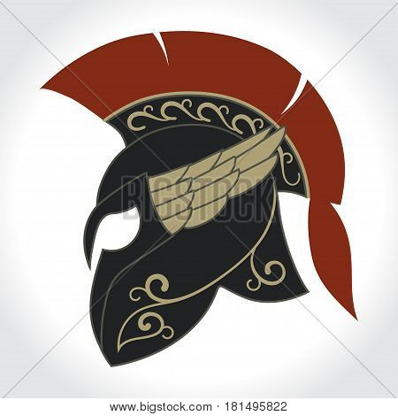 Spartan Helmet logo, ancient Greek warrior, Gladiator emblem, legionnaire heroic soldier. vector