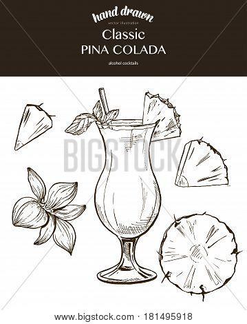 Pina Colada. Vector sketch illustration of cocktails. Hand drawn.