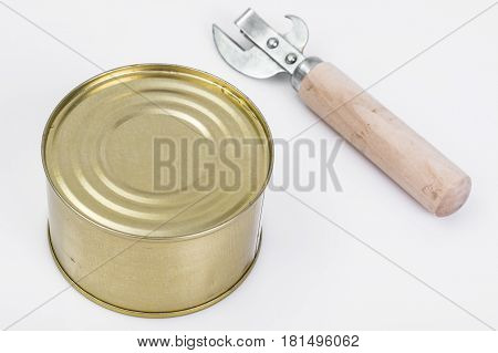 Closed metal can with fish or canned meat. Studio Photo