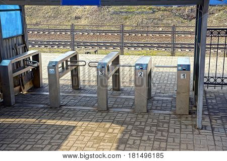 Check point to the station from the iron turnstiles