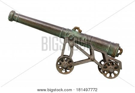 Isolated Vintage Portugese Cannon With Wheels And White Background