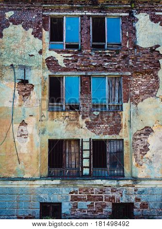 Wall of desolate building in 19th century military fortress in Daugavpils Latvia