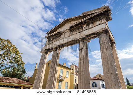 Ruins of Roman Agora - Athena Gate in Athens Greece