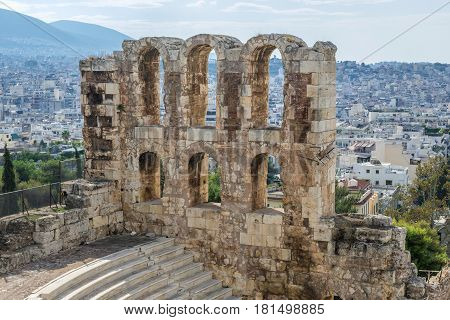 Ruins of ancient theater Herod Atticus Odeon Acropolis in Athens Greece