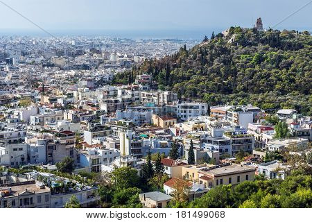 Aerial view with Musaios Hill from Acropolis hill in Athens Greece