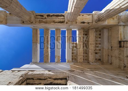 Ruins of Erechtheion temple in Acropolis of Athens city Greece