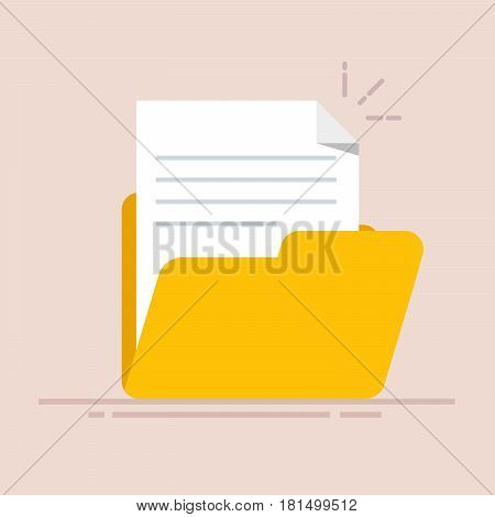 Document in the folder icon. Paper sheet with abstract text. Flat illustration isolated on color background