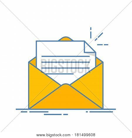Open envelope with a document. New letter. Sending correspondence. Flat line illustration isolated on white background