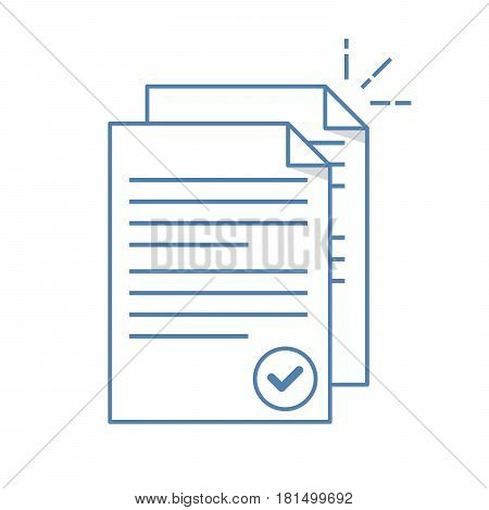 Documents icon. Stack of paper sheets. Confirmed or approved document. Flat line illustration isolated on white background