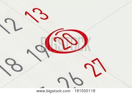 Mark the date number 20 focus point on the red marked number.