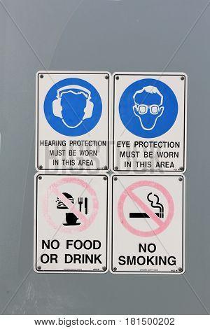 Warning Signs on Wall