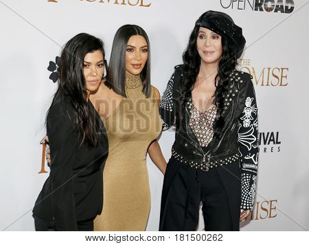 Kim Kardashian West, Kourtney Kardashian and Cher at the Los Angeles premiere of 'The Promise' held at the TCL Chinese Theatre in Hollywood, USA on April 12, 2017.