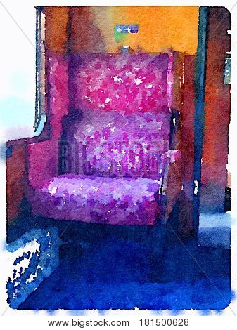Digital watercolor painting of a steam train carriage single seat luxurious red pink seat in the UK. With space for text.