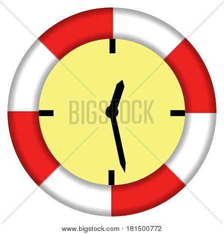 Illustrating The Expression Saving Time Lifebuoy And Clock