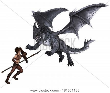 Fantasy illustration of a warrior elf boy wearing bronze dragon scale armour and fighting a dragon with spear and shield, digital illustration (3d rendering)