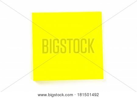Yellow sticker for notes on white background