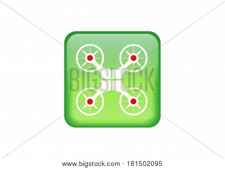 Button web drone icon. Drone symbol. Vector illustration isolated