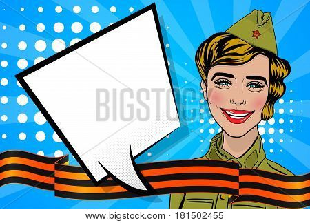 Russian blonde girl cartoon comic pop art uniform greetings veterans Great war. Red star garrison cap, St. George ribbon, striped. Vector illustration blue sunbeam background. Empty bubble text banner