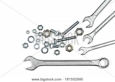 Wrenches, bolts and washers isolated on white background