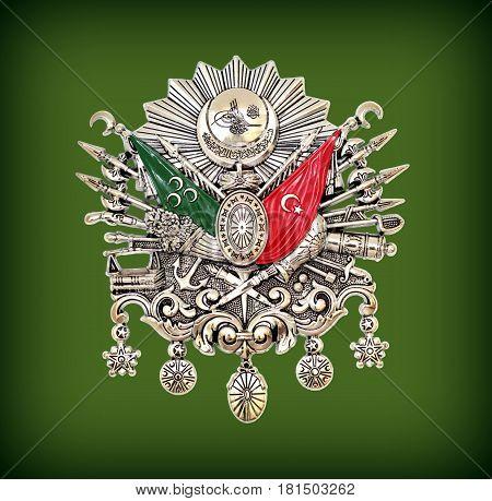 Ottoman Empire Emblem, ( Old Turkish Symbol ) on green background