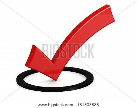 Red Tick In The Black Round Box