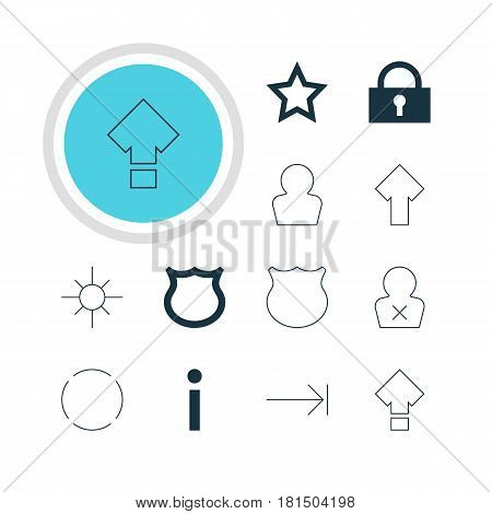 Vector Illustration Of 12 User Icons. Editable Pack Of Sunshine, Tabulation Button, Displacement And Other Elements.