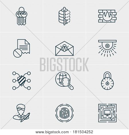 Vector Illustration Of 12 Data Protection Icons. Editable Pack Of Encoder, Safeguard, Camera And Other Elements.