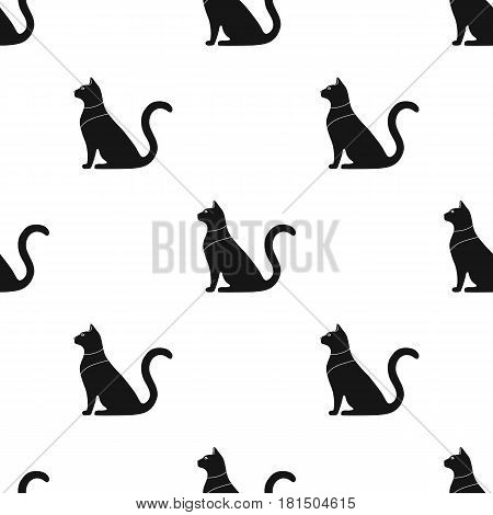 Cat goddess Bastet icon in black style isolated on white background. Ancient Egypt pattern vector illustration.