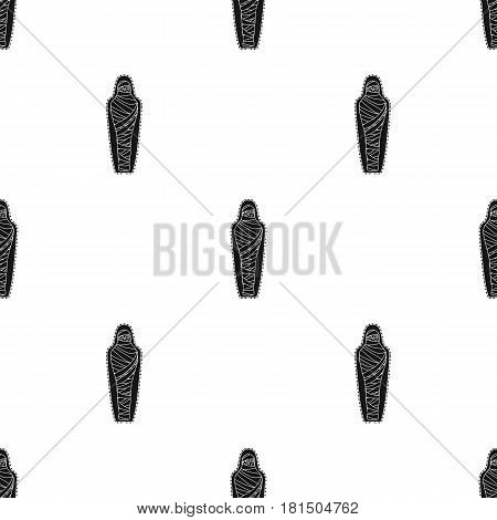 Ancient mummy icon in black style isolated on white background. Ancient Egypt pattern vector illustration.