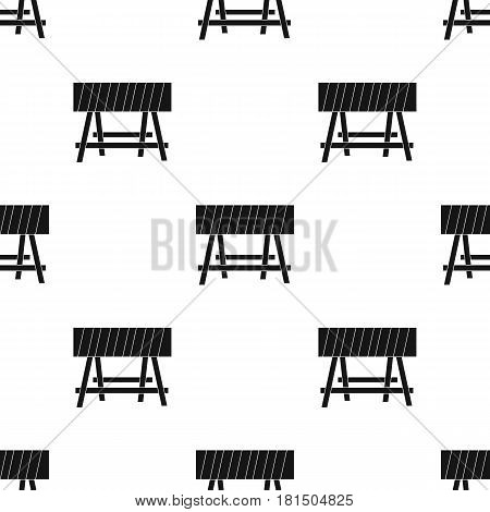 Construction barricade icon in black style isolated on white background. Build and repair pattern vector illustration.