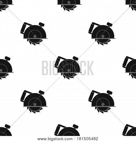 Circular saw icon in black style isolated on white background. Build and repair pattern vector illustration.