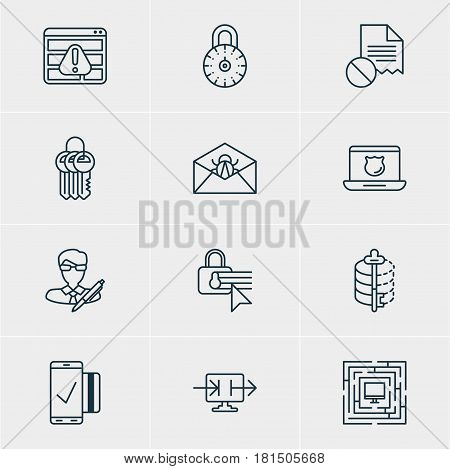Vector Illustration Of 12 Privacy Icons. Editable Pack Of Copyright, Confidentiality Options, Encoder And Other Elements.