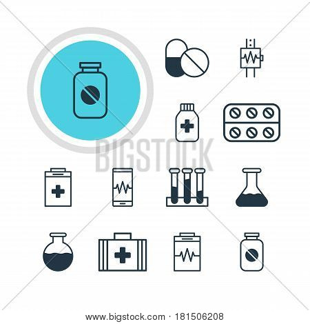 Vector Illustration Of 12 Health Icons. Editable Pack Of Pills, Antibiotic, Exigency And Other Elements.