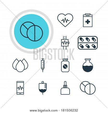 Vector Illustration Of 12 Medicine Icons. Editable Pack Of Trickle, Phone Monitor, Medicine And Other Elements.