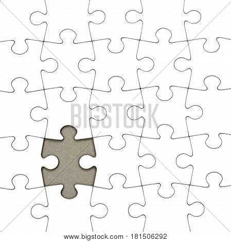 Puzzle white pieces and a missing piece close up image