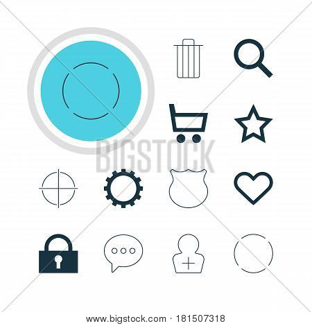 Vector Illustration Of 12 Interface Icons. Editable Pack Of Seek, Asterisk, Wheelbarrow And Other Elements.