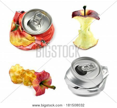 Garbage. Bitten apples and crushed drinks can isolated on white background